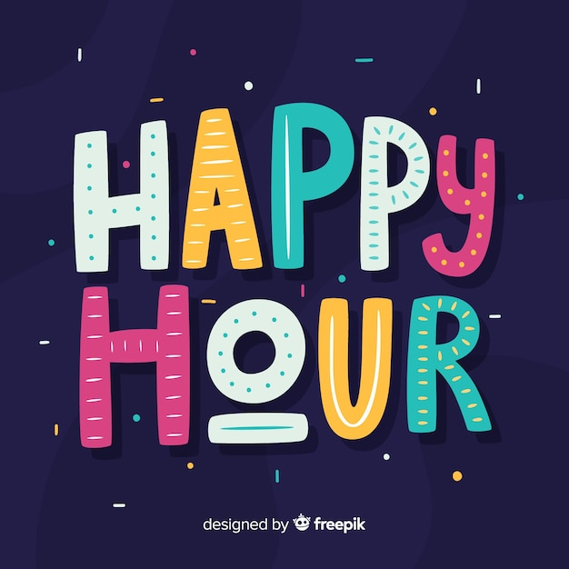Happy hour schriftzug hintergrund Kostenlosen Vektoren