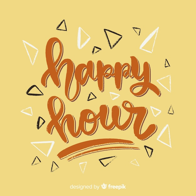 Happy hour schriftzug mit gelbem hintergrund Kostenlosen Vektoren