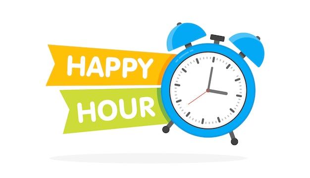 Happy hour wecker Premium Vektoren