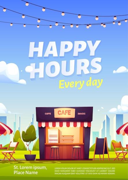 Happy hour-werbeplakat mit straßencafé mit kaffee und snacks Kostenlosen Vektoren