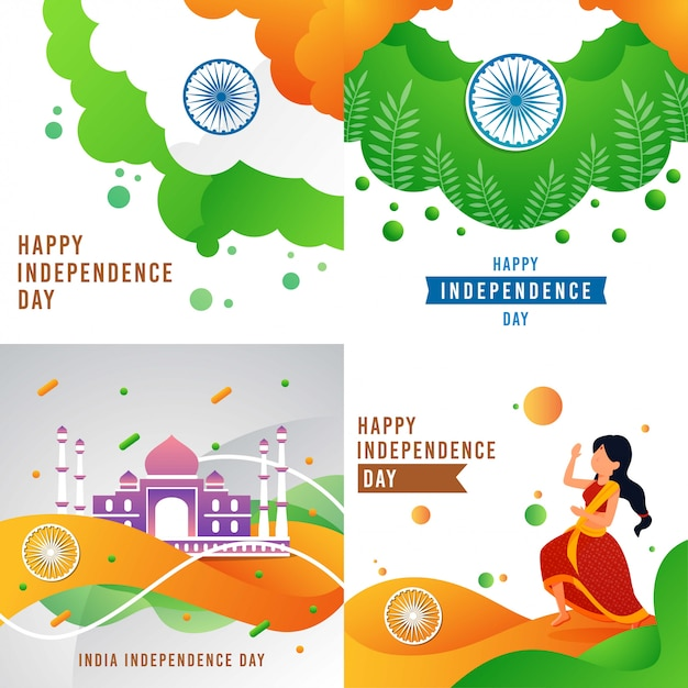 Happy india independence day Premium Vektoren