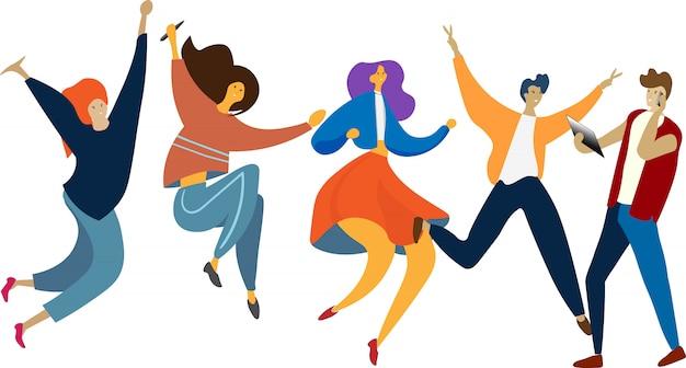 Happy jumping gruppe von menschen. gesunder lebensstil, freundschaft, erfolg, siegkonzept feiernd. Premium Vektoren
