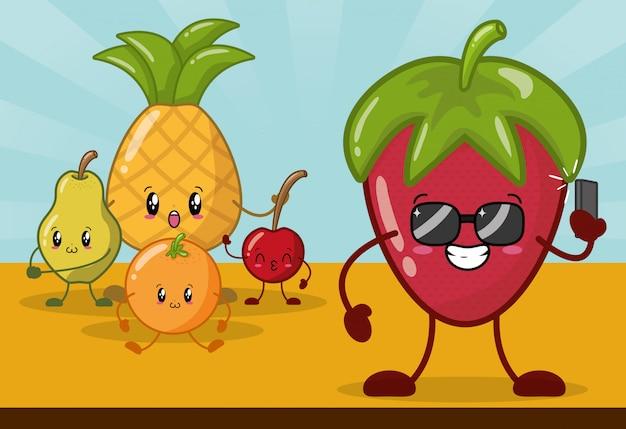 Happy kawaii früchte emojis Kostenlosen Vektoren
