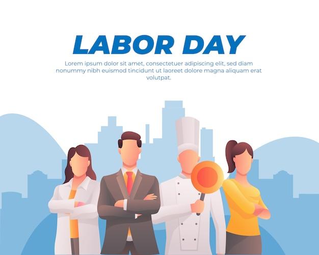 Happy labor day banner und arbeitnehmer festgelegt Premium Vektoren