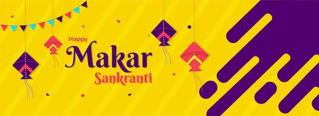 Happy makar sankranti header oder banner design mit han dekoriert Premium Vektoren