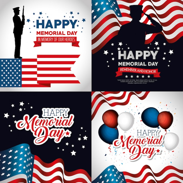 Happy memorial day feier set flyer Premium Vektoren