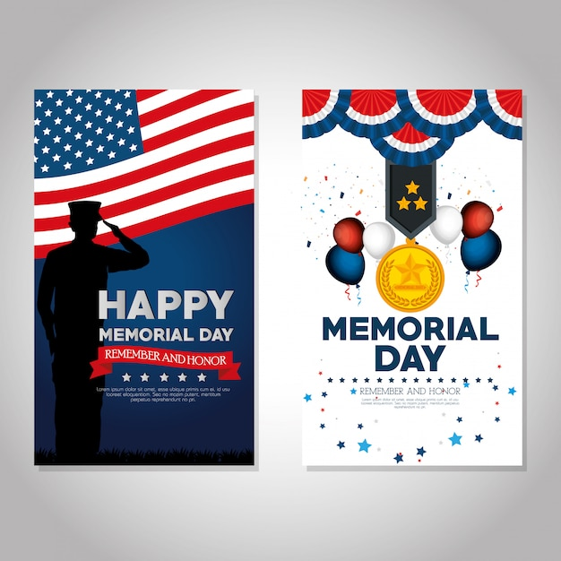 Happy memorial day feier set flyer Premium Vektoren