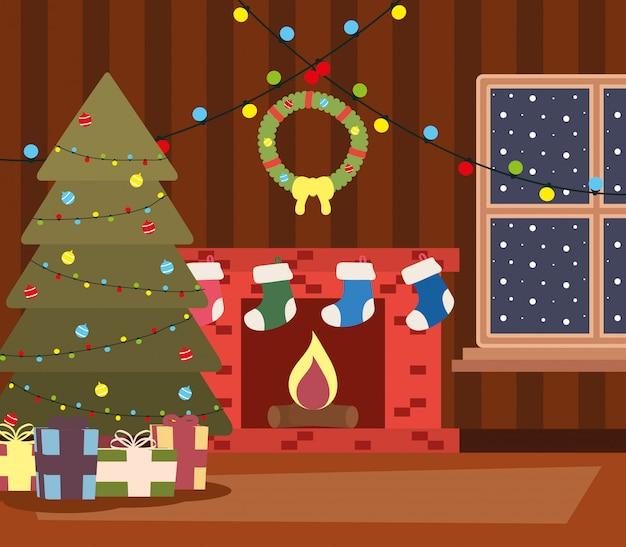 Happy mery christmas house place mit baum und geschenke-szene Premium Vektoren