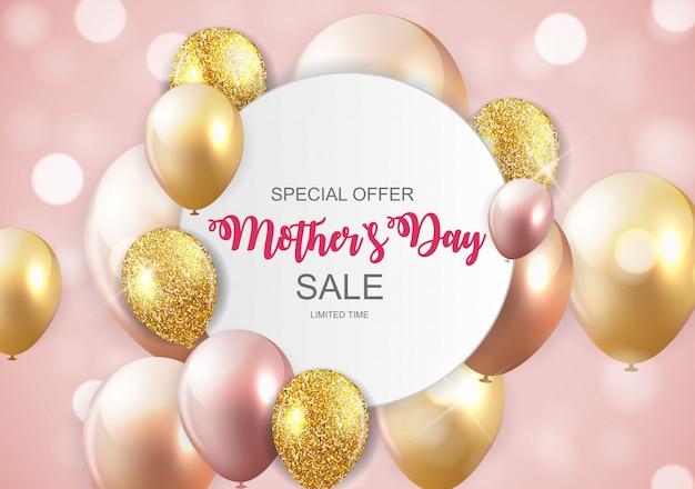 Happy mothers day cute sale banner mit luftballons Premium Vektoren