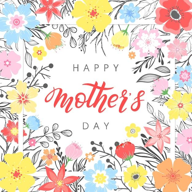 Happy mothers day typografie.happy mothers day - handgezeichnete schrift mit floralen elementen, blättern und blumen.seasons grußkarte perfekt für drucke, banner, einladungen, sonderangebot und vieles mehr. Premium Vektoren
