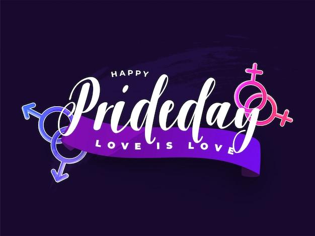 Happy pride day-konzept für lgbtq-community mit schwulen und lesbischen paaren. Premium Vektoren