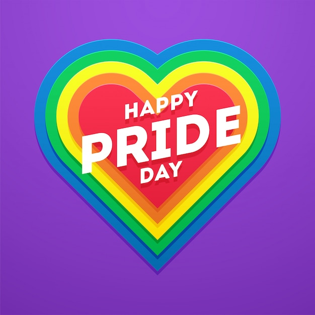 Happy pride day-konzept mit herzform für die lgbtq-community. Premium Vektoren