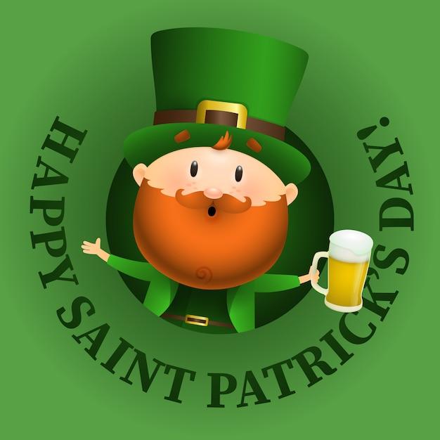 Happy saint patricks day schriftzug und kobold mit bier Kostenlosen Vektoren
