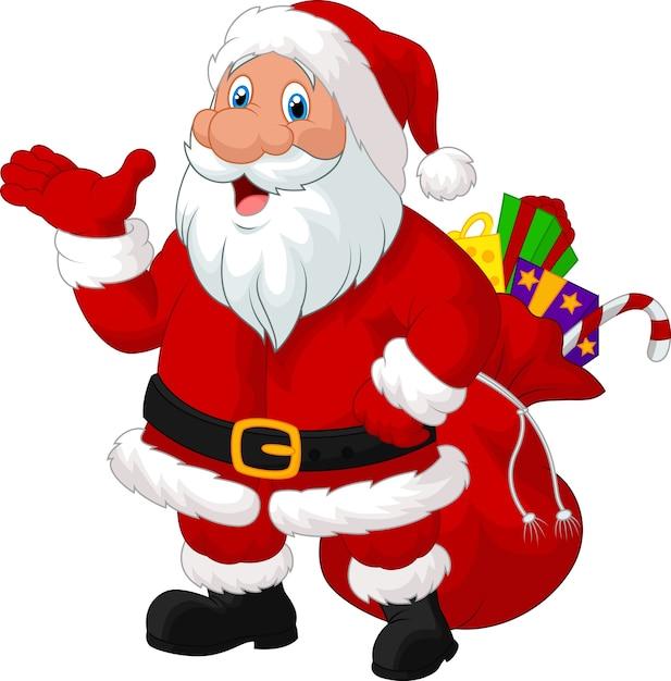 Happy santa mit sack Premium Vektoren