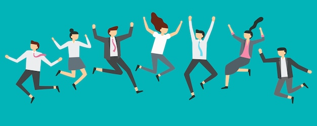 Happy springende geschäftsleute. die aufgeregten büroteamarbeitskräfte, die an der angestelltpartei springen, lächelnde fachleute springen illustration Premium Vektoren