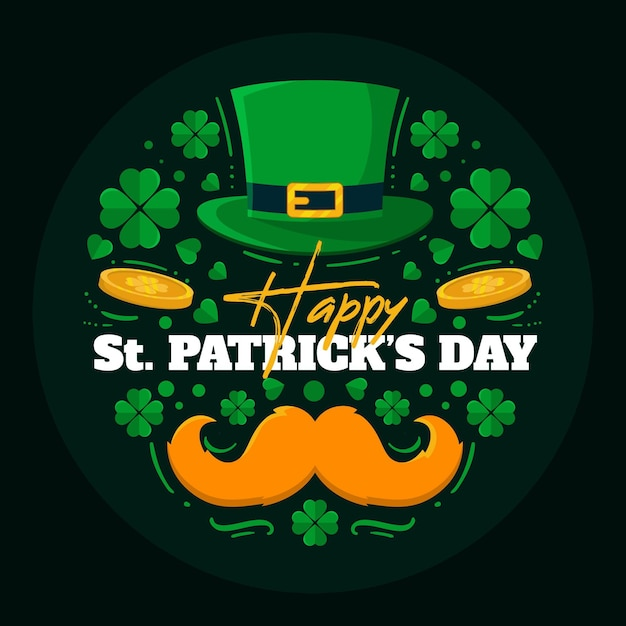 Happy st. patrick's day illustration mit hut und schnurrbart Premium Vektoren