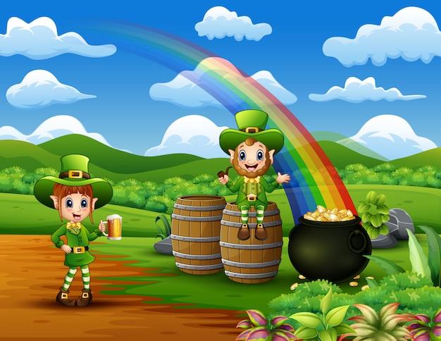 Happy st patrick tag kobolde feiern auf der natur Premium Vektoren
