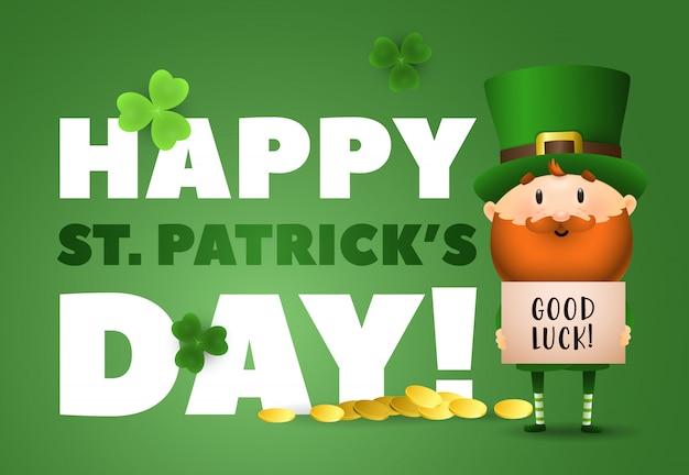 Happy st patricks day-schriftzug, viel glück, kobold und gold Kostenlosen Vektoren