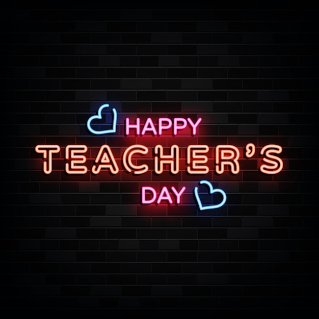 Happy teacher day leuchtreklamen Premium Vektoren