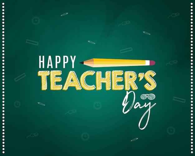 Happy teacher's day banner design mit bleistift Premium Vektoren
