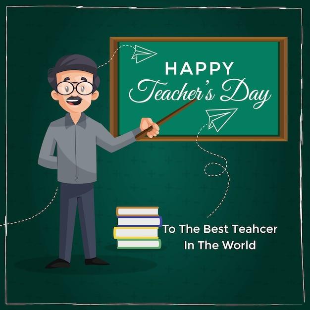 Happy teacher's day banner design vorlage Premium Vektoren