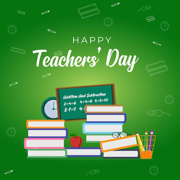 Happy teacher's day banner design Premium Vektoren