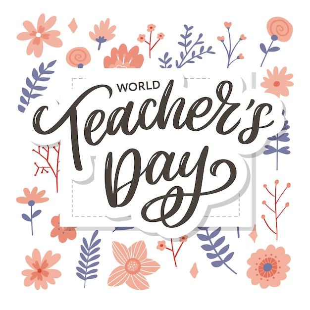 Happy teacher's day inschrift. grußkarte mit kalligraphie. hand gezeichnete beschriftung. typografie für einladung, banner, poster oder kleidung. zitat. Premium Vektoren