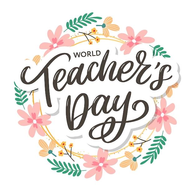 Happy teacher's day inschrift. grußkarte mit kalligraphie. hand gezeichnete beschriftung. typografie für einladungs-, banner-, poster- oder kleidungsdesign. zitat. Premium Vektoren