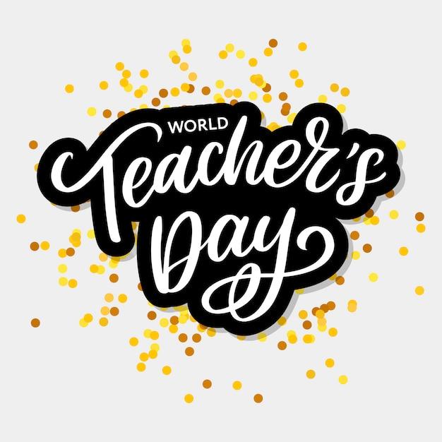 Happy teacher's day inschrift. grußkarte Premium Vektoren