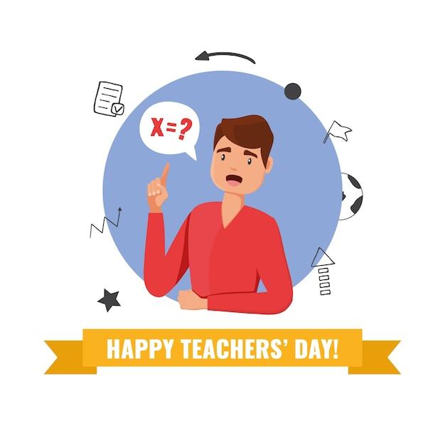 Happy teacher's day konzept. karte mit lehrer und handgezeichneten schulmaterialelementen. illustration. Premium Vektoren