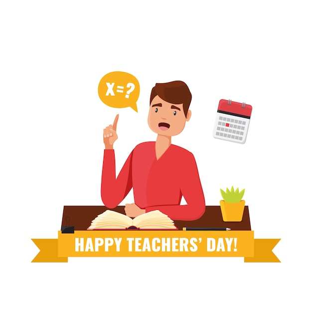 Happy teacher's day konzept. karte mit lehrerlehrer, der an einem tisch mit einem buch sitzt und eine frageillustration stellt. Premium Vektoren