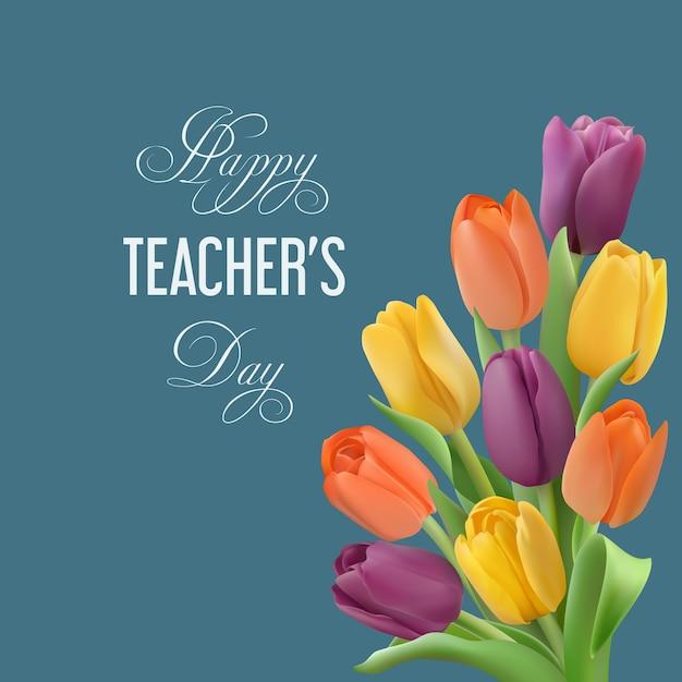 Happy teacher's day-konzept mit strauß bunter tulpen Premium Vektoren