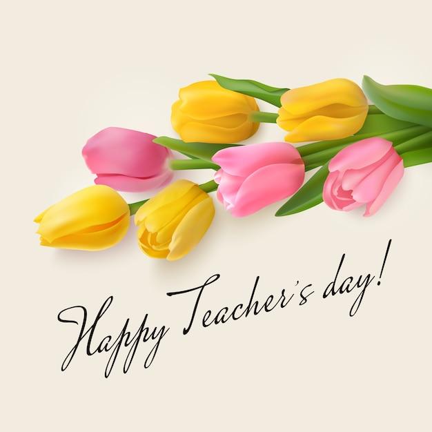 Happy teacher's day-konzept mit strauß rosa und gelben tulpen und glückwunsch Premium Vektoren