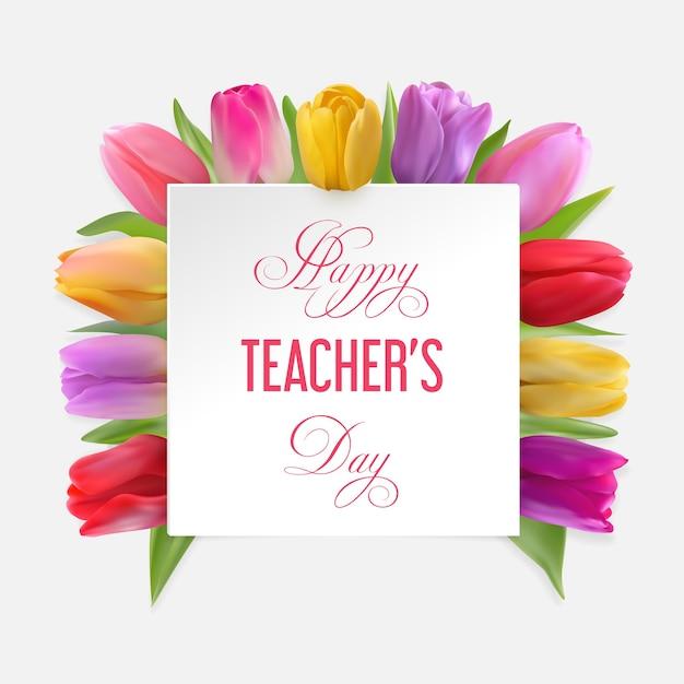 Happy teacher's day-konzept mit tulpen unter einem weißen karton mit glückwunschtext. Premium Vektoren