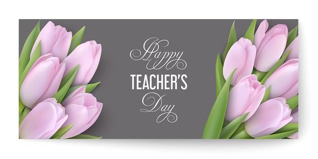 Happy teacher's day-konzept mit zarten rosa tulpen auf einem grauen karton mit glückwunschtext. Premium Vektoren