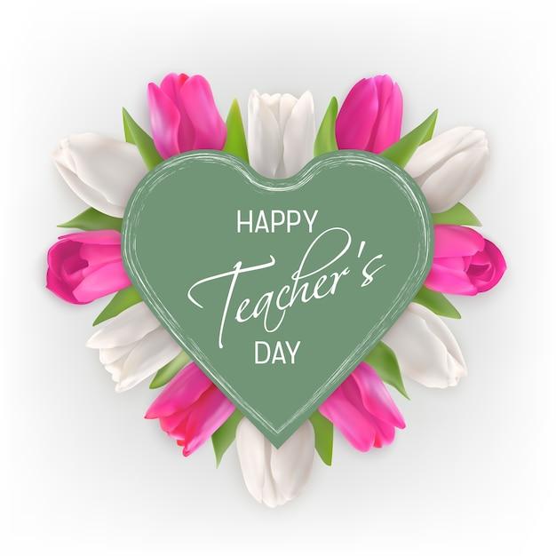 Happy teacher's day konzept. rosa und weiße tulpen unter einem grünen herzen. Premium Vektoren