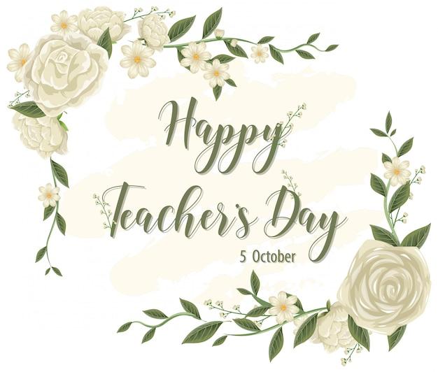 Happy teacher's day-logo mit blumenthema Premium Vektoren