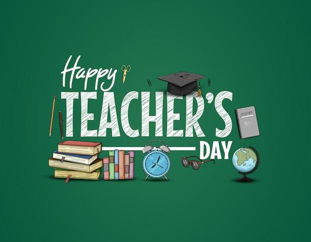 Happy teachers day mit schulmaterial Premium Vektoren