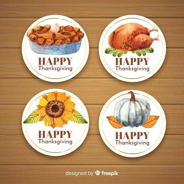 Happy thanksgiving aquarell abzeichen sammlung Kostenlosen Vektoren