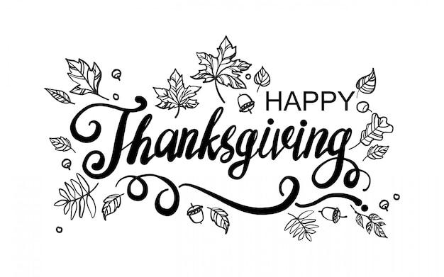Happy thanksgiving day grußkarte mit schriftzug und zeichnung verlässt Premium Vektoren