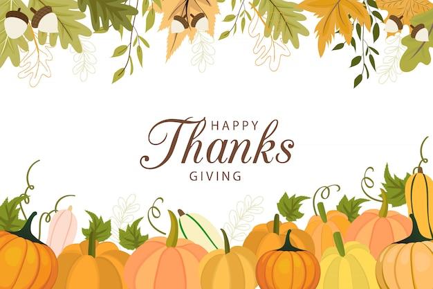 Happy thanksgiving day grußkartenvorlage mit gemüse und bunten blättern. Premium Vektoren