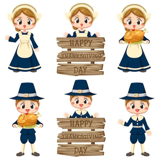 Happy thanksgiving day ikonen mit mädchen und zeichen aus verschiedenen hölzern. Kostenlosen Vektoren