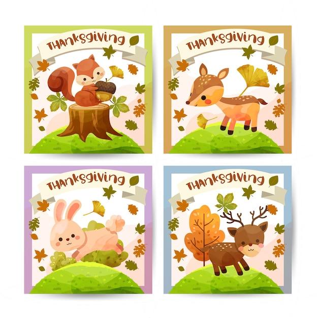 Happy thanksgiving day karte mit eichhörnchen, bär, kaninchen und hirsch. Kostenlosen Vektoren