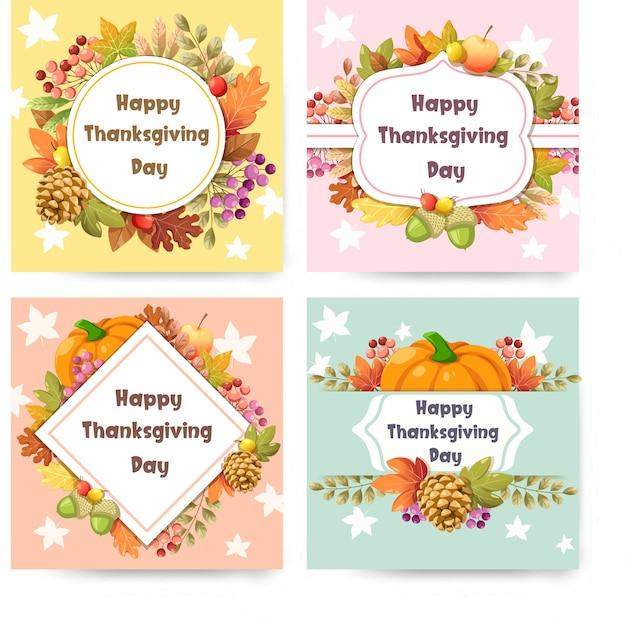 Happy thanksgiving day karte mit kürbis Kostenlosen Vektoren