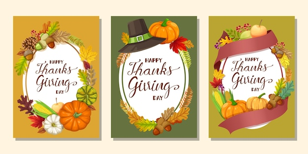 Happy thanksgiving day karte oder flyer mit kürbis, mais, walnüssen, blättern und getrockneten tannenzapfen Kostenlosen Vektoren