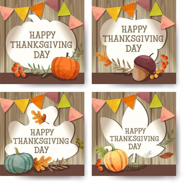 Happy thanksgiving day karte oder flyer mit walnuss, kürbis und ahornblättern. Kostenlosen Vektoren