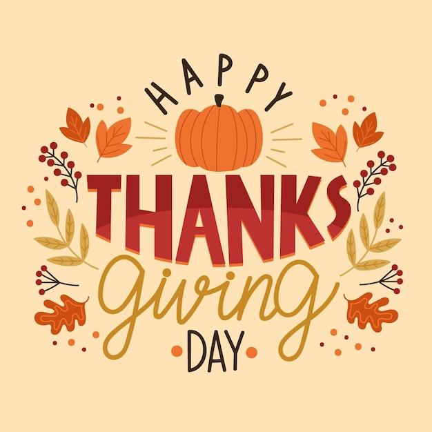 Happy thanksgiving day schriftzug design Kostenlosen Vektoren