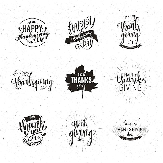 Happy thanksgiving-embleme festgelegt Premium Vektoren