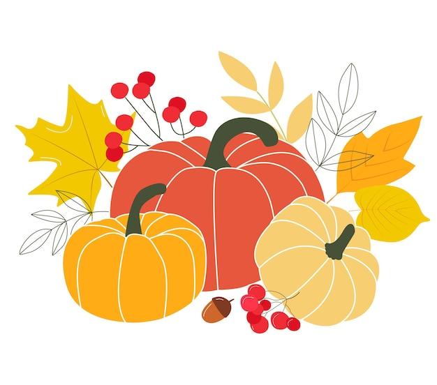 Happy thanksgiving gruß postkarte design postkarte herbstsaison orange kürbis, gelb, rot, wald herbst blatt kräutermischung. vektorillustration im flachen stil Premium Vektoren