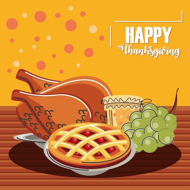 Happy thanksgiving grußkarte abendessen menü mit putenkuchen gelee und trauben Premium Vektoren